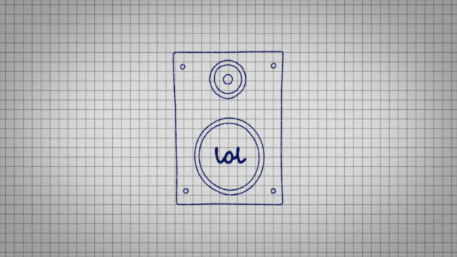animated graphic of a music speaker being drawn onto a piece of graph paper with the word 'lol' in its centre. - graph paper stock videos & royalty-free footage