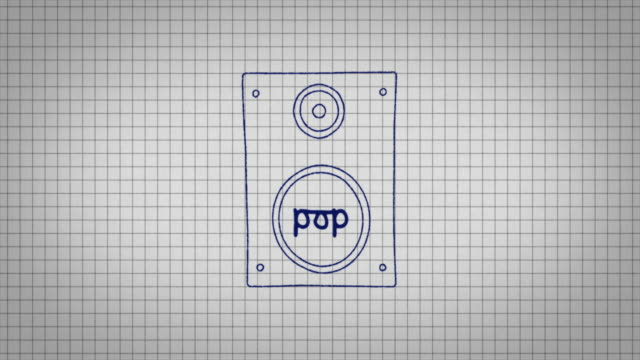 animated graphic of a music speaker being drawn onto a piece of graph paper with the word 'pop' in its centre. - graph paper stock videos & royalty-free footage