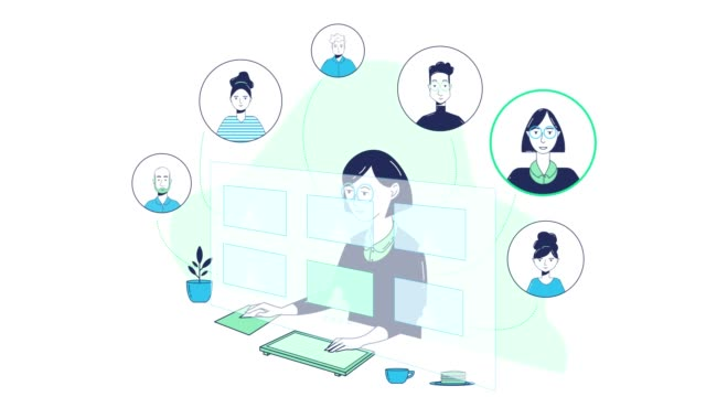 animated graphic of virtual staff meeting - illustration stock videos & royalty-free footage