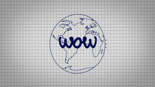 "animated graphic showing a globe being drawn on a piece of graph paper with the word ""wow"" appearing in it's centre. - graph paper stock videos & royalty-free footage"