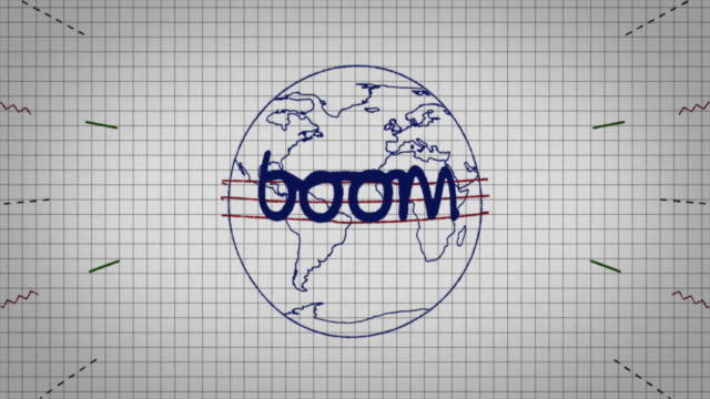 animated graphic showing a globe being drawn on a piece of graph paper with the word 'boom' appearing in it's centre. - graph paper stock videos & royalty-free footage