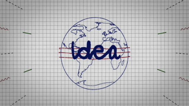 animated graphic showing a globe being drawn on a piece of graph paper with the word 'idea' appearing in it's centre. - graph paper stock videos & royalty-free footage