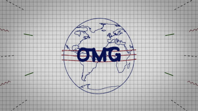 animated graphic showing a globe being drawn on a piece of graph paper with the word 'omg' appearing in it's centre. - graph paper stock videos & royalty-free footage