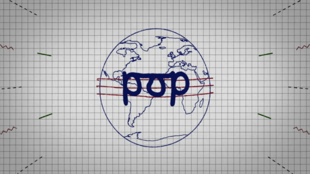 animated graphic showing a globe being drawn on a piece of graph paper with the word 'pop' appearing in it's centre. - graph paper stock videos & royalty-free footage
