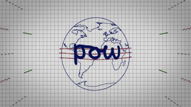 animated graphic showing a globe being drawn on a piece of graph paper with the word 'pow' appearing in it's centre. - graph paper stock videos & royalty-free footage