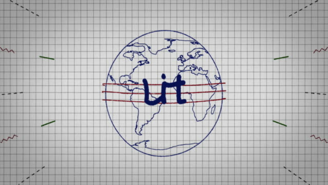 animated graphic showing a globe being drawn on a piece of graph paper with the word 'lit' appearing in it's centre. - graph paper stock videos & royalty-free footage