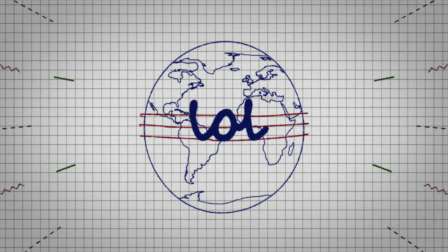animated graphic showing a globe being drawn on a piece of graph paper with the word 'lol' appearing in it's centre. - graph paper stock videos & royalty-free footage