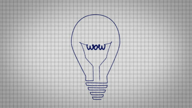 "animated graphic showing a light bulb being drawing onto a piece of graph paper with the word ""wow"" in its centre. - graph paper stock videos & royalty-free footage"