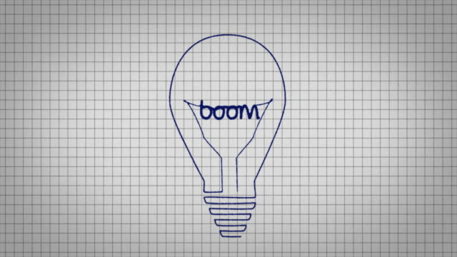 animated graphic showing a light bulb being drawn on a piece of graph paper with the word 'boom' appearing in it's centre. - graph paper stock videos & royalty-free footage