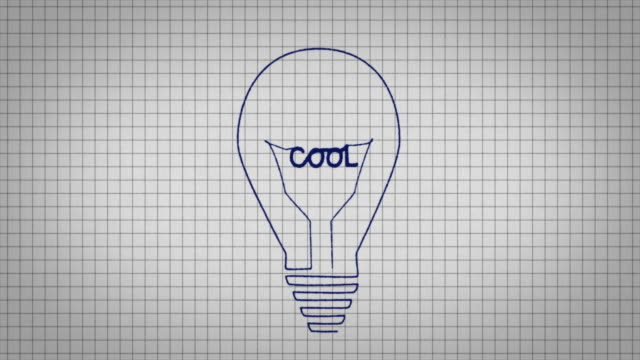 animated graphic showing a light bulb being drawn on a piece of graph paper with the word 'cool' appearing in it's centre. - graph paper stock videos & royalty-free footage