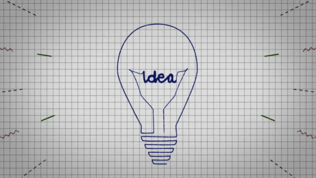 animated graphic showing a light bulb being drawn on a piece of graph paper with the word 'idea' appearing in it's centre. - line art video stock e b–roll