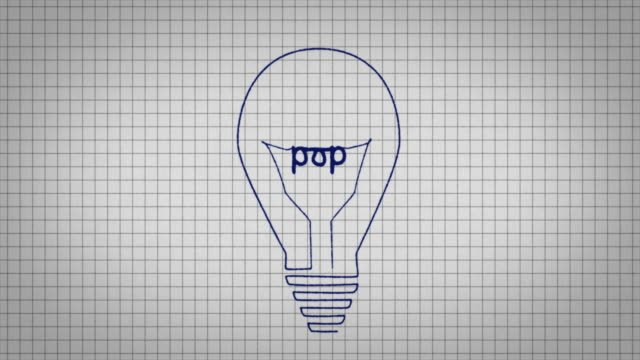 animated graphic showing a light bulb being drawn on a piece of graph paper with the word 'pop' appearing in it's centre. - graph paper stock videos & royalty-free footage