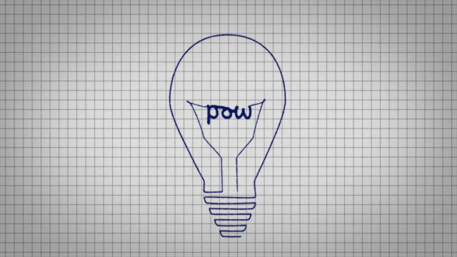 animated graphic showing a light bulb being drawn on a piece of graph paper with the word 'pow' appearing in it's centre. - graph paper stock videos & royalty-free footage