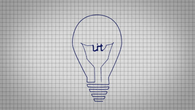 animated graphic showing a light bulb being drawn on a piece of graph paper with the word 'lit' appearing in it's centre. - graph paper stock videos & royalty-free footage
