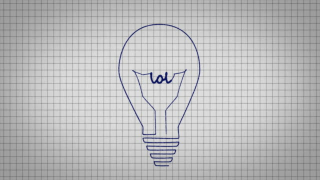 animated graphic showing a light bulb being drawn on a piece of graph paper with the word 'lol' appearing in it's centre. - graph paper stock videos & royalty-free footage