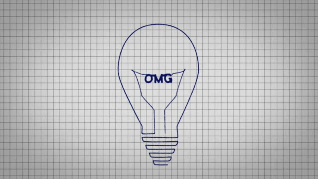 animated graphic showing a light bulb being drawn on a piece of graph paper with the word 'omg' appearing in it's centre. - graph paper stock videos & royalty-free footage