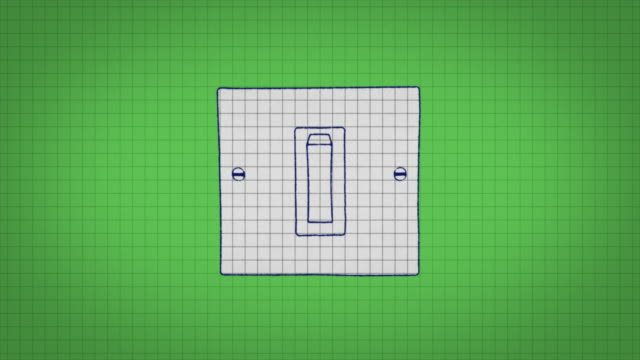 animated graphic showing a light switch being drawn onto graph paper and being switched on. - graph paper stock videos & royalty-free footage