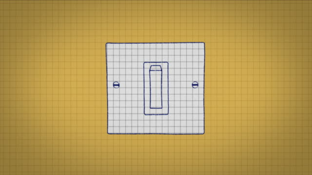 animated graphic showing a light switch being drawn onto graph paper and being switched on. - light switch stock videos & royalty-free footage