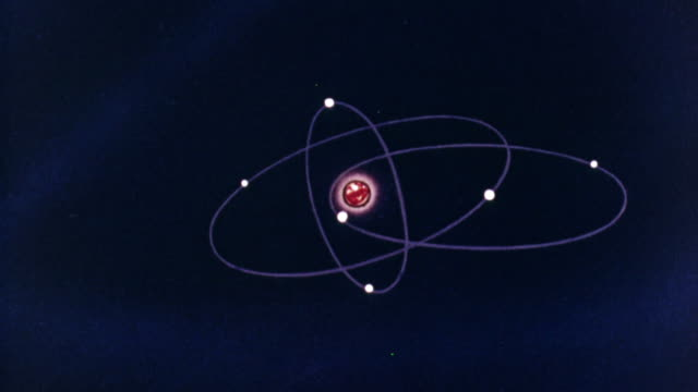 1957 montage animated graphics showing an atom's electrons, neutrons, protons and nucleus / united kingdom - 原子点の映像素材/bロール