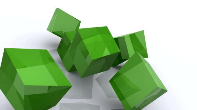 3 D cubi animati verde Jello quadrati