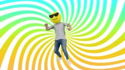 Animated Human Funny and Lucky Dynamic Dancing in Comical Rhythm Beat Looping