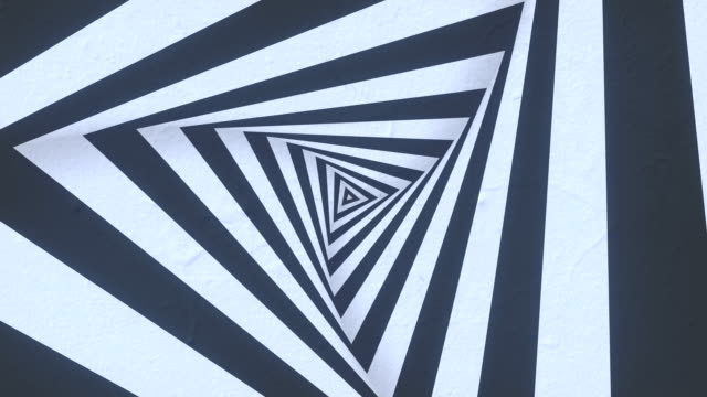 animated hypnotic tunnel with white and black stripes. 3d render loop animation. 4k, uhd resolution - optical illusion stock videos & royalty-free footage