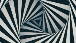Animated hypnotic tunnel with white and black stripes. Digital seamless loop animation. 3d rendering. 4K, Ultra HD resolution