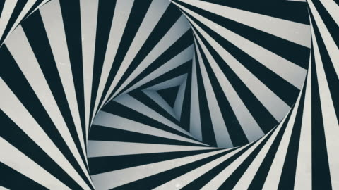 animated hypnotic tunnel with white and black stripes. digital seamless loop animation. 3d rendering. 4k, ultra hd resolution - spiral stock videos & royalty-free footage