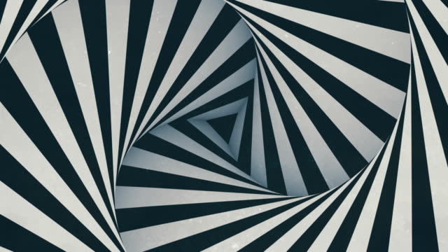animated hypnotic tunnel with white and black stripes. digital seamless loop animation. 3d rendering. 4k, ultra hd resolution - black colour stock videos & royalty-free footage