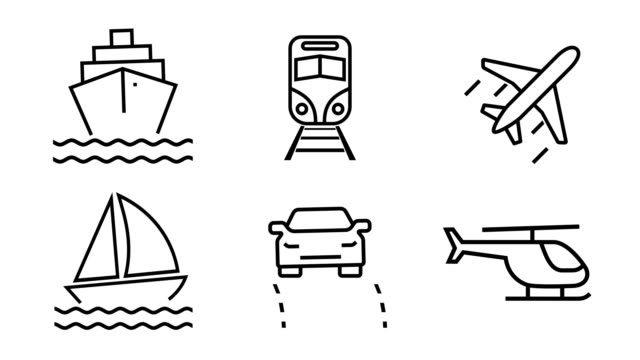 animated icon set - travel and transportation (4k loopable) - line art stock videos & royalty-free footage