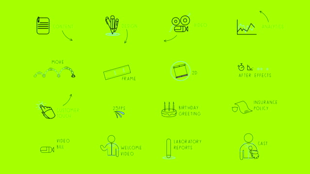 animated icons - becco video stock e b–roll
