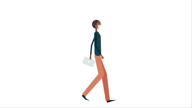 animated illustration of man wearing protective face mask while walking - illustration stock videos & royalty-free footage