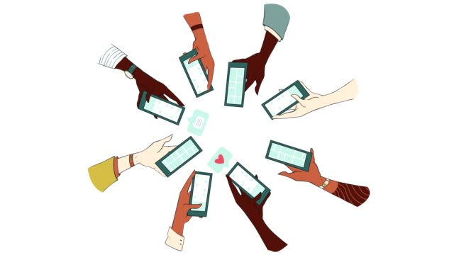 animated image of friends participating in a group text - handheld stock videos & royalty-free footage