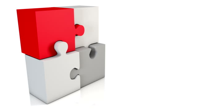 Animated Jigsaw Blocks Loop - Red/Grey HD (2 camera angles)