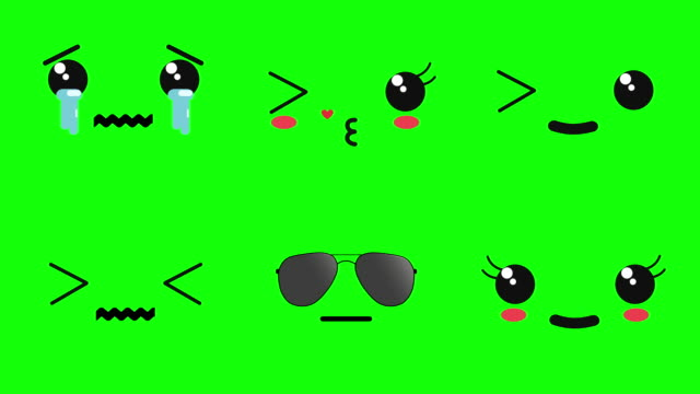 vidéos et rushes de émoticônes de visage animées de kawaii; pleurer, baiser, un œil clignoter, dizzy, cool, happy - battre des paupières