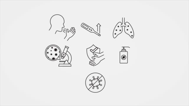 vídeos de stock e filmes b-roll de animated line art pictograms for covid-19 symptoms and precautions - símbolo