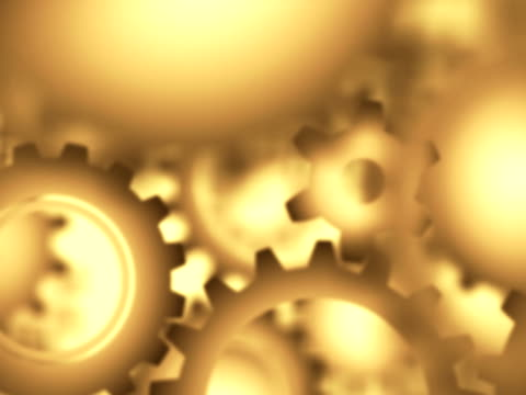 Animated Machinery Gears in Gold