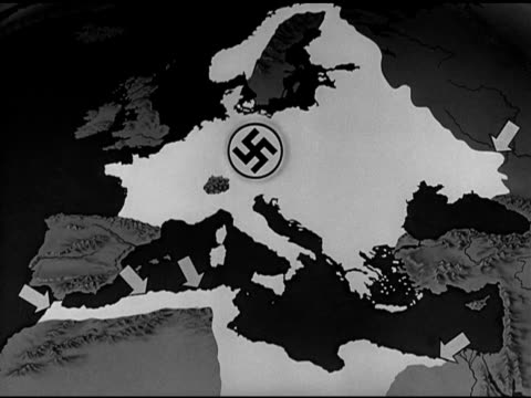 map animated map highlighting nazi germany occupied territories territory arrows in mediterranean basin at morocco algeria tunisia egypt allied... - nazi swastika stock videos and b-roll footage
