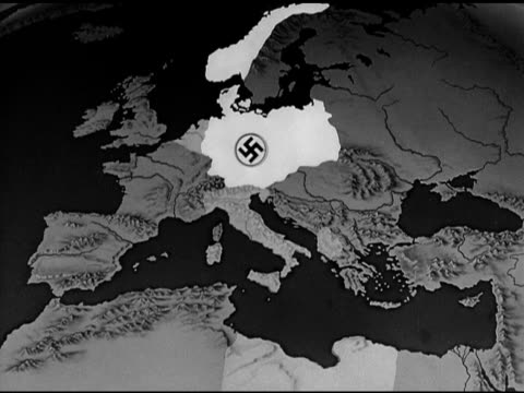 map animated map highlighting nazi germany spreading out from 1939 to 1942 - domination stock videos & royalty-free footage