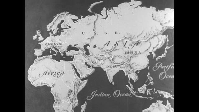 stockvideo's en b-roll-footage met map animated map of asia moving in cu on india - 1949