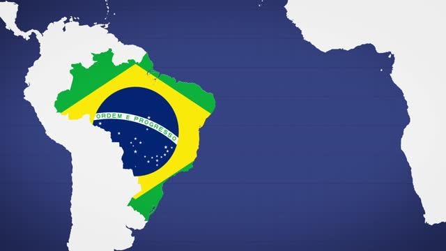 vídeos de stock, filmes e b-roll de mapa animado do brasil com fundo azul - política