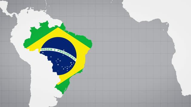 vídeos de stock, filmes e b-roll de mapa animado do brasil com fundo branco - política