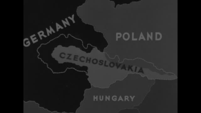 animated map of central europe showing parts of czechoslovakia given to germany, poland and hungary / king carol ii of romania, wearing naval... - romania stock videos & royalty-free footage