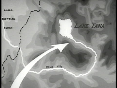 animated map of ethiopia: nile river highlighted. proposed dam just se of lake tana. - 1935 stock-videos und b-roll-filmmaterial