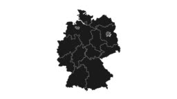 Animated map of Germany showing administrative regions. Germany map with black federal states appearing and fading one by one. Detailed political country map with divisions. 4K resolution