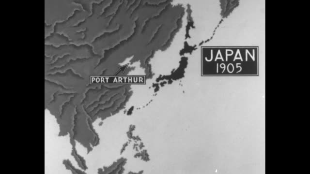 vídeos de stock e filmes b-roll de animated map of japan, eastern asia, western pacific rim and west pacific ocean showing successive countries, cities and islands occupied by japan... - pacific war
