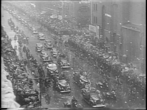 animated map of new york / president franklin d roosevelt's motorcade through the bronx harlem and upper manhattan / motorcade drives through harlem... - ticker tape stock videos and b-roll footage