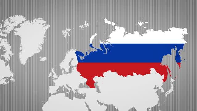 vidéos et rushes de carte animée de la russie avec le fond blanc - fédération de russie