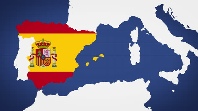 animated map of spain with blue background - politics illustration stock videos & royalty-free footage