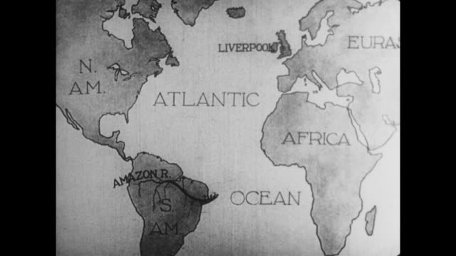 vídeos de stock e filmes b-roll de 1925 c/u animated map showing boat leaving liverpool, england and travelling along the amazon river - liverpool inglaterra